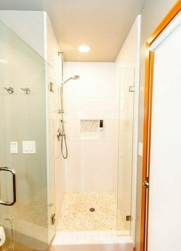 the walk in shower at reverie retreat cottage