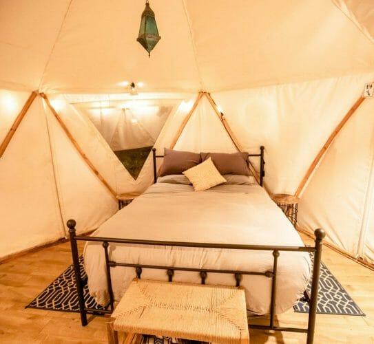 the interior of blackberry yurt