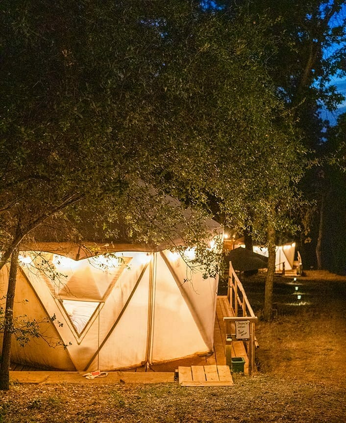 the exterior of blackberry yurt during the night