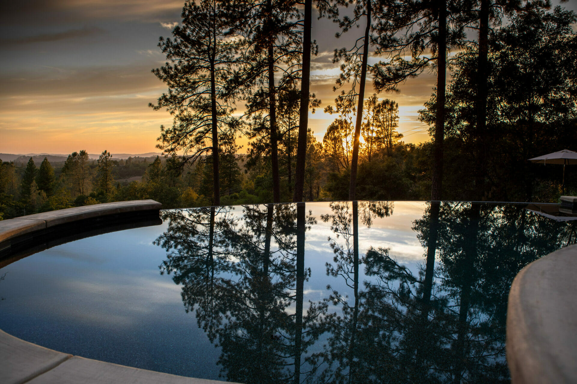 Reverie Retreat Pool During Evening
