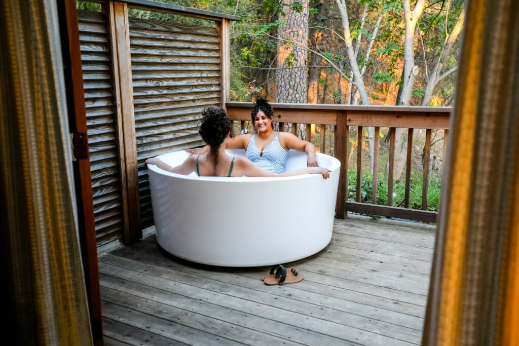 Cottage tub in deck